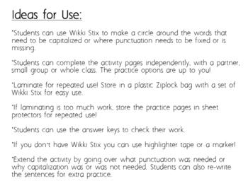 Punctuation Practice with Wikki Stix Freebie!