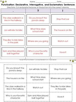 Punctuation: Punctuate Sentences Cut and Paste Activity - . ? ! - King Virtue