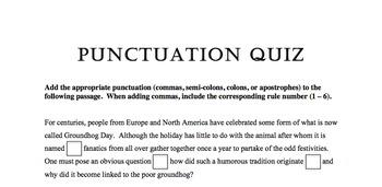 Punctuation Quiz 3