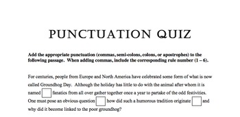 Punctuation Quiz 3