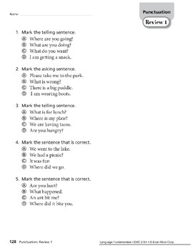 Punctuation Review, Grade 1