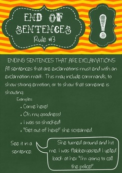 Punctuation Rules Posters - End of Sentences