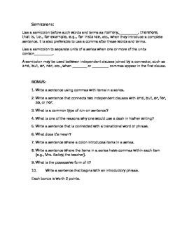 Punctuation Rules Quiz