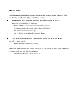 Punctuation Rules and Exercises  Gr. 6-12