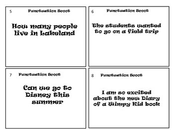 Punctuation SCOOT/Review Game/Center Activity