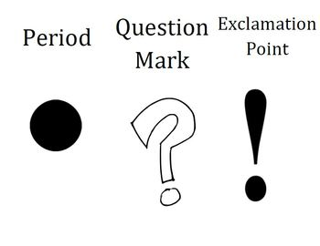 Punctuation Sentence Creations using Period, Question mark, & Exclamation point