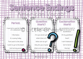 Punctuation - Sentence Endings - Poster and Worksheets