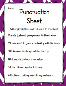 Punctuation Sheet