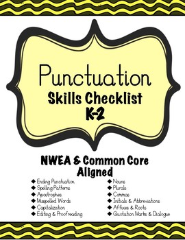 Punctuation Skills Checklist K-2 ~NWEA & CCSS ALIGNED~