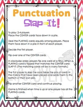 Punctuation Card Game | Punctuation Activity | Literacy Center