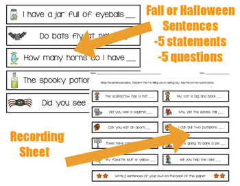 Punctuation Sort: Fall and Halloween Theme