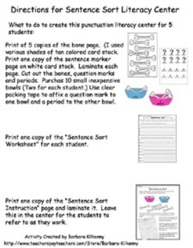 Literacy Center - Punctuation Sort - Questions and Statements