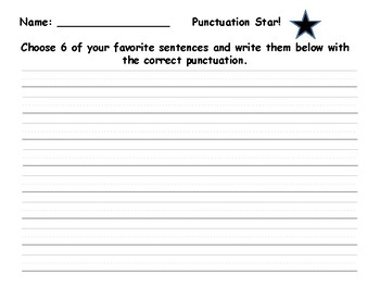 Punctuation Star!  Literacy Station