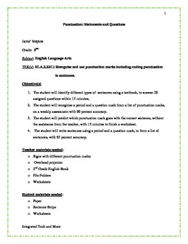 Punctuation: Statement and Question Lesson Plan