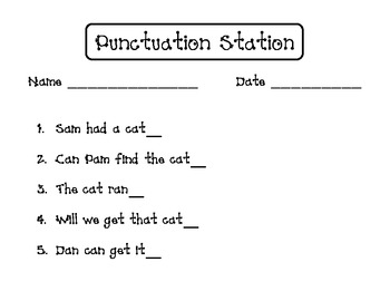 Punctuation Station Printable Pack