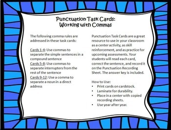Punctuation Task Cards #2 {More Work with Commas}