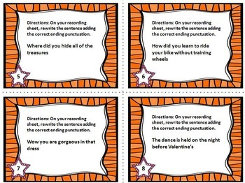 Punctuation Task Cards #3 {End Marks}