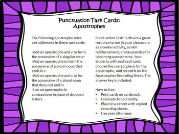 Punctuation Task Cards #4 {Apostrophes}