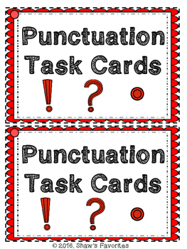 Punctuation Mark's Task Cards {1st-2nd}