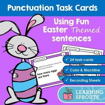 Punctuation Task Cards: Using Fun Easter Themed Sentences