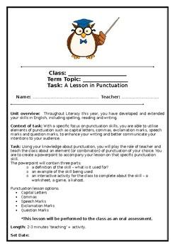 Punctuation Teaching Assessment Task