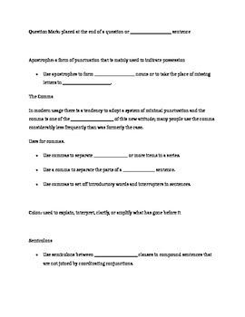 Punctuation Unit Plan