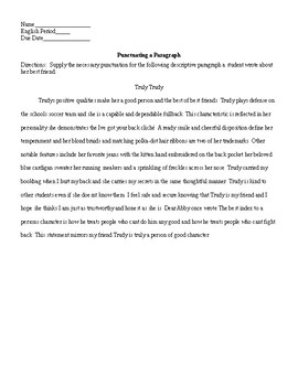 Punctuation a Paragraph Worksheet and KEY