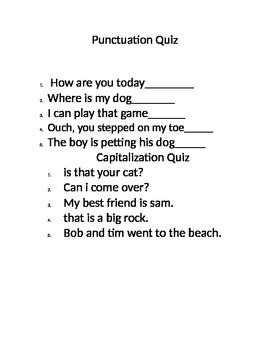 Punctuation and Capialization Quiz