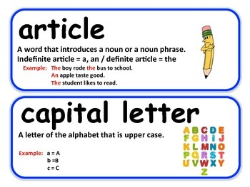 Punctuation and Grammar Vocabulary