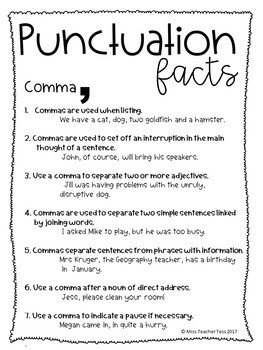 Punctuation worksheets and factsheets
