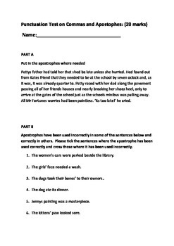 Punctuation test commas and apostophes