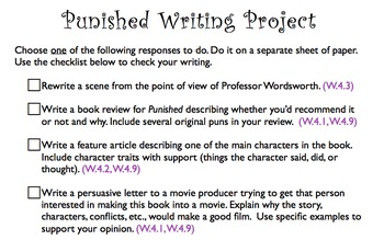Punished Student Literature Packet and Teacher Guide - CCSS Aligned!