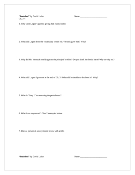 """""""Punished"""" by D. Lubar, Comprehension Questions and TEST"""