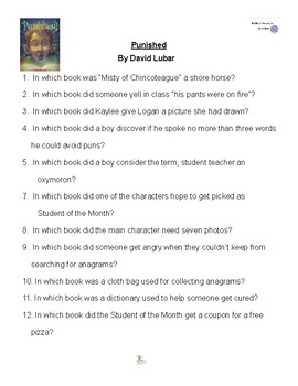 Punished by David Lubar, Battle of the Books Questions