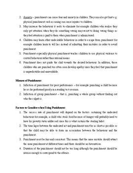 Punishment and Behaviour Modification Techniques