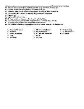 Punishments and Defenses for Crimes quiz assessment test worksheet