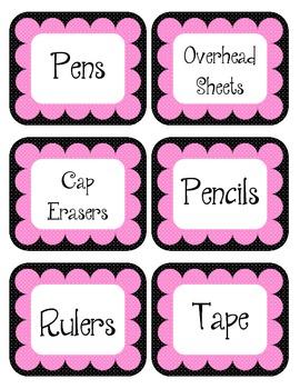 Punk Rock Pink & Black Scalloped Polka Dot Labels