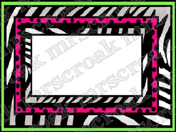 Labels: Punk Rock Zebra with hot pink/lime green, 6 per page