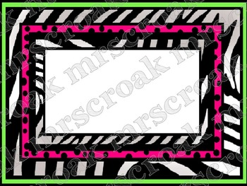 Labels: Punk Rock Zebra with hot pink/lime green, 10 per page