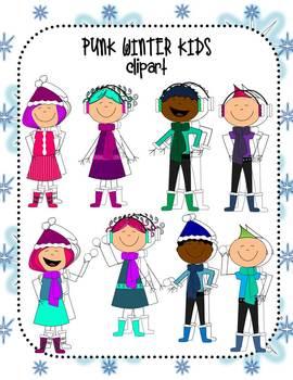 Punk Winter Kids Clip Art