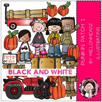 Punkin Patch 1 clip art - BLACK AND WHITE- by Melonheadz