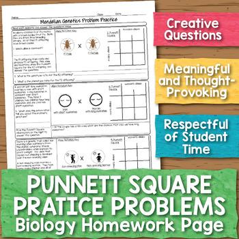 Punnett Square Practice Problems Biology Homework Worksheet