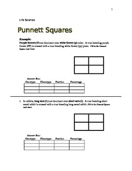 Punnett Square Practice Word Problems - Life Science Grade 7