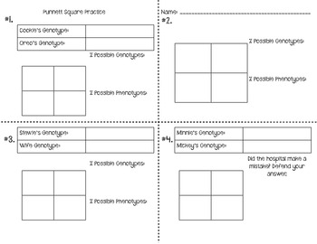Punnett Square Word Wall and Task Cards