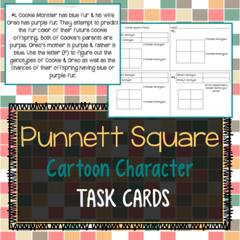 Punnett Square Cartoon Character Task Cards