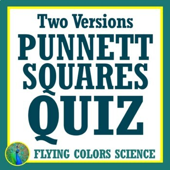 Punnett Squares Quiz 2 Versions Middle School Genetics NGSS MS-LS3-2