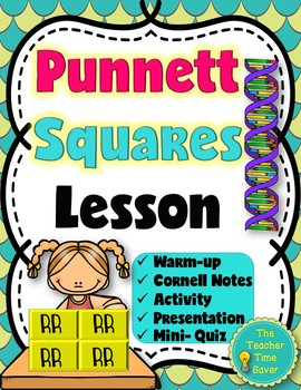 Punnett Squares Lesson (printable notes, warm-up and activity with presentation)