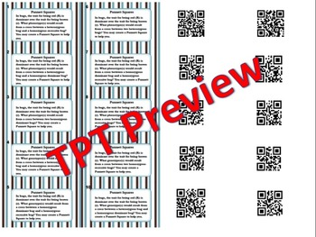 Punnett Squares Task Cards Genetics Phenotype/Genotype Review with QR Codes
