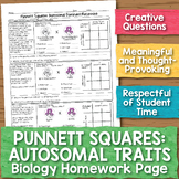Punnett Squares for Autosomal Traits Biology Homework Worksheet