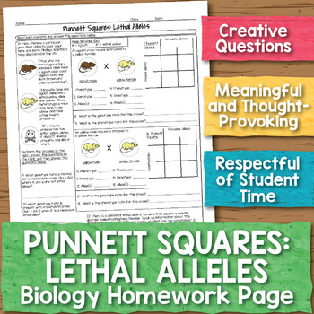 Punnett Squares with Lethal Alleles Biology Homework Worksheet